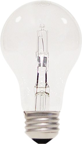 Satco S2402 43 Watt (60 Watt) 750 Lumens A19 Halogen Warm White 3000K Clear Light Bulb, (750w Bulb)