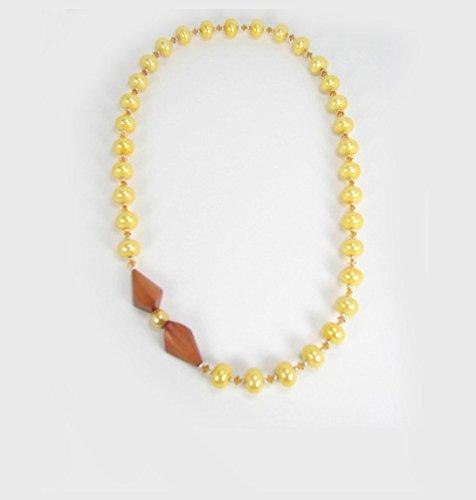 Necklace Teak - Yellow Pearl Necklace, Topaz Swarovski Crystal, Teak Focal. One-Of-A-Kind