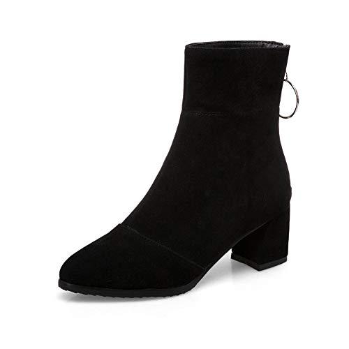 34 Agregar Grande Cálidas Without 43 Moda Fur Piel Zapatos Altos Zip Nuevo Up Tacones Botas Tamaño Mujer Hoesczs Invierno Black 4FOqwxE5