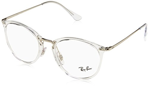 RAY-BAN RX7140 Square Eyeglass Frames, Transparent/Demo Lens, 51 mm (Ray Ban Clear Glasses)
