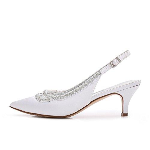 L@YC Frauen-Arbeits-Plattform-Hochzeits-Gerichts-Schuh-Pumpen-Blitz-Stilett-Niedrige Mittlere Kätzchen-Ferse-Größe 3-8 White