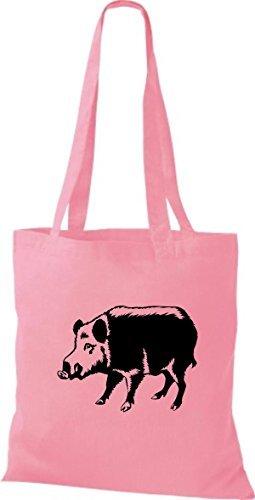 shirtstown Bolsa de tela ANIMALES CERDO Verraco Cerda Cerdito rosa