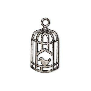 10 Bird Cage Bead Drop Charms Birdcage Silver Brass Gunmetal Bronze U pick (Gunmetal)