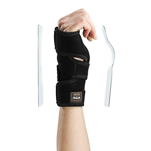 Splint Removable (Wrist Support Brace with Removable Splint Hand Wrap Relieve Carpal Tunnel Arthritis Tendonitis Sprains with Cushioned Pad for Women Men, Right/L XL)