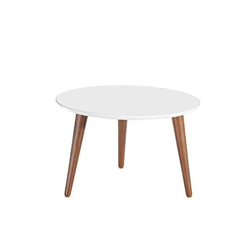 Living Room Manhattan Comfort Moore Mid-Century Modern Round Coffee Table, White modern coffee tables
