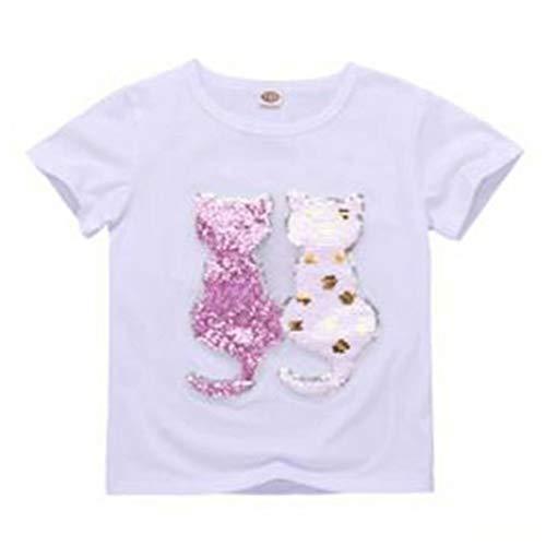 - Girls T-Shirt Cat Magic Sequins Short Sleeve Crewneck Tee 3-9 Years