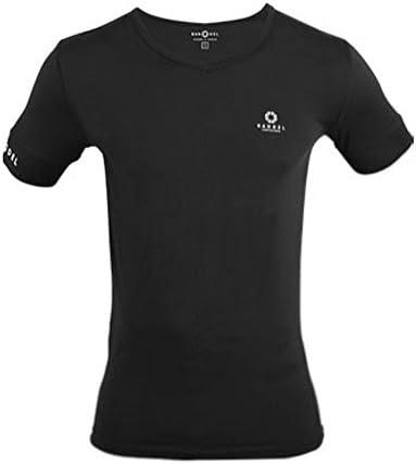 吸汗速乾Tシャツ Vネック 半袖 ブラック L