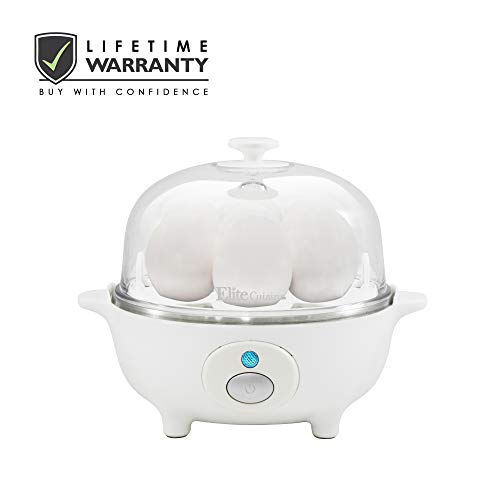 Elite Cuisine EGC-007 Easy Electric Egg Poacher, Omelet & Soft, Medium, Hard-Boiled Egg Cooker with Auto-Shut off and Buzzer, 7...