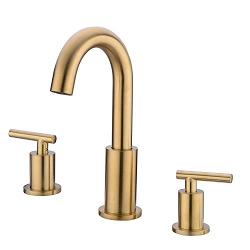 TRUSTMI 2 Handle 8 inch Widespread Bathroom Faucet with Valve and cUPC Faucet Supply Hoses, Brushed Gold