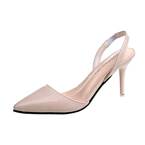 ChainSee Women Fashion Sandals, Elastic Band Thin Heels Pointed Toe High Heels Ladies Nude Color Shoes (Guess Evening Shoes)