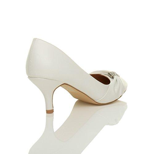 Ajvani - Zapatos de vestir para mujer White Matte