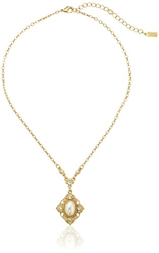 Downton Abbey Gold-Tone Pearl Crystal Pendant Necklace, - Faux Oval Pearl
