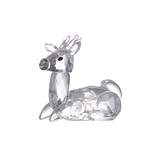 LONGWIN Crystal Animal Figurines Mini Glass Sika Deer Statues Home Table Decoration Ornaments Collectible Gifts