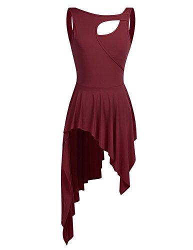 High Short Burgundy Sleeveless Dress TiaoBug Adult Lyrical Dance Leotard Ballet Women Low PqxX81wSx