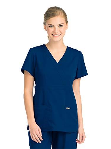 Grey's Anatomy Women's 4153 Junior-Fit Three-Pocket Mock-Wrap Scrub Top, Indigo, Medium
