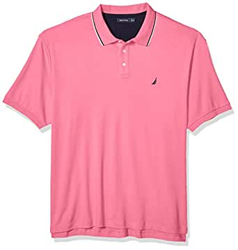 Nautica Men's Big and Tall Classic Fit Short Sleeve Solid Tipped Collar Soft Polo Shirt, Carnation, 1X
