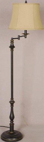 (Bronze Single Light Down Lighting Swing Arm Pillar Floor Lamp Bronze)