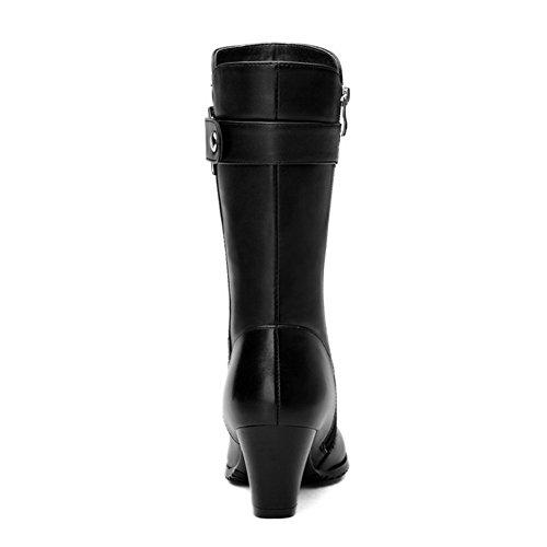 Allhqfashion Women's Blend Materials Soft Material Kitten-Heels Boot with Anti-skidding Bottom Black ZJ69fE2zsT