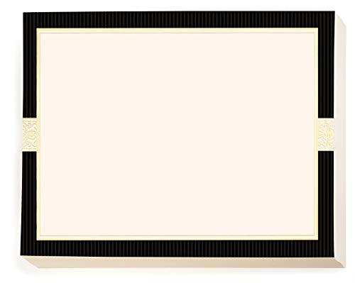 Allure Specialty Black, Cream, and Gold Certificates, Gold Foil Border 8 1/2 inch x 11 inch, 38lb Cream Cover Stock, 50 Count