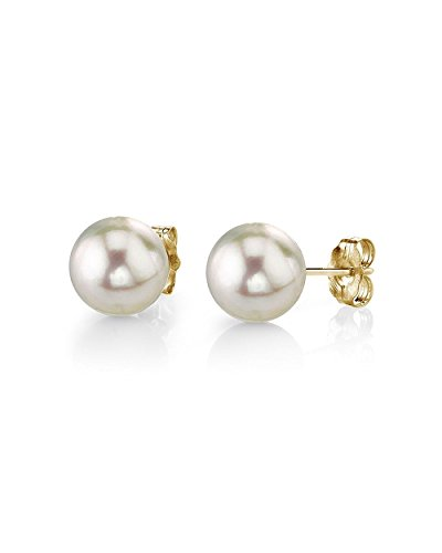 14K Gold 6-6.5mm AAA Quality Round White Cultured Akoya Stud Pearl Earrings Set for Women by The Pearl Source