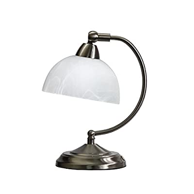 Elegant Designs LT2029-BSN Mini Modern Banker's Desk Lamp Touch Control Base, Brushed Nickel - Elegant mini banker's lamp Exquisite finish and marbleized glass shade Touch control base with 4 settings (low, medium, high, off) - lamps, bedroom-decor, bedroom - 31oRIGXyjaL. SS400  -