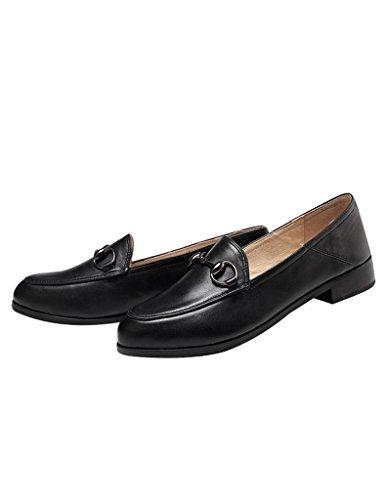 Youlee Mujeres Primavera Verano Nuevo Ponerse Cuero Zapatos Negro