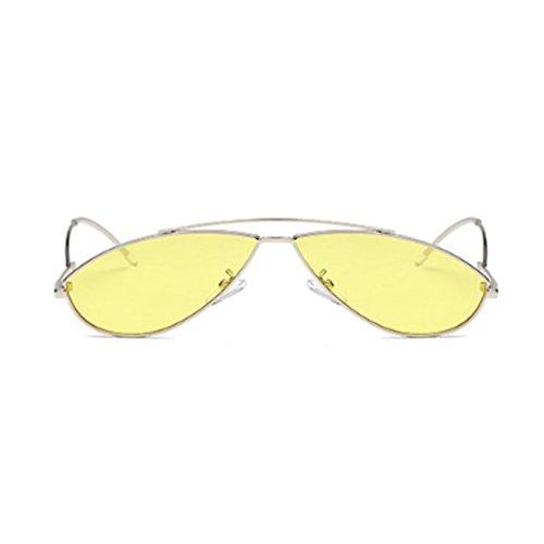 Tabletas de Plata sol de moda Gafas Amarilla de marco sol colorido Gafas Aiweijia de de metal vintage de época pequeño 7qnUtxwa