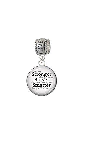 Silvertone Domed Stronger Braver Smarter - Love You More Charm Bead by Delight Jewelry