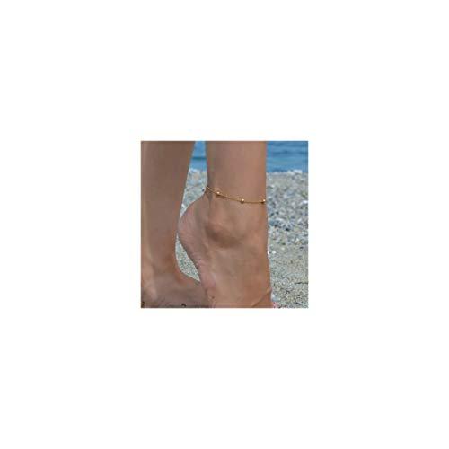 Tiny Ball Chain - Gold Dainty Beaded Anklet for Women,18K Gold Plated Cute Tiny Beaded Ball Satellite Chain Boho Beach Summer Foot Chain Ankle Bracelet for Teen Girls