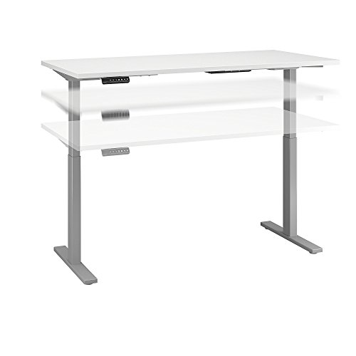24D Height Adjustable Standing Desk in White with Cool Gray Metallic Base ()