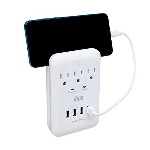 KMC 3 Outlet Smart WiFi Wall Surge Protector Compatible with Alexa,Google Home and IFTTT, Surge Protector with 4 USB Charging Ports and 1 Phone Holders for Multi Outlets and for Home, School, Office.