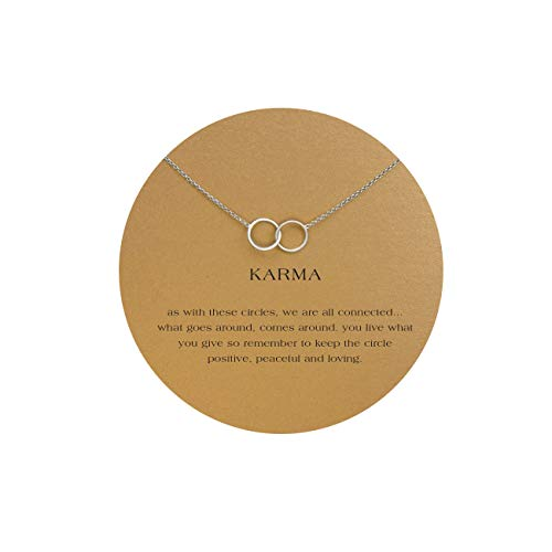 LANG XUAN Message Card Sister Necklace,Silver Interlocking Infinity 2 Circle Necklace for Women Meaning ()