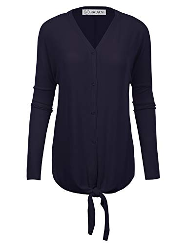BIADANI Women's New TR Fabric Tunic with Button and Tie Knot Navy Small (V-neck Nylon Cardigan)