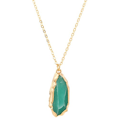 D EXCEED Irregular Dyed Slice Quartz Pendant Druzy Gemstone Gold Cable Chain Necklace for Women 20