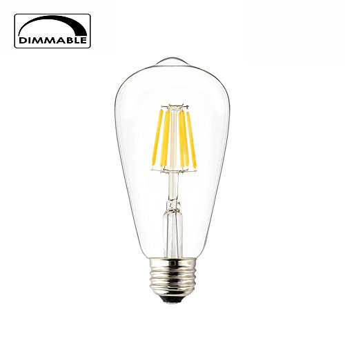 OPALRAY LED Filament Bulb, Edison Style Vintage ST21(ST64) Shape, 6W Dimmable, Medium E26 Base Lamp, 2700K Warm White Color Light, 60 Watts Incandescent Equivalent(6W Warm White-1 Pack) (6 Light 60w Pendant)