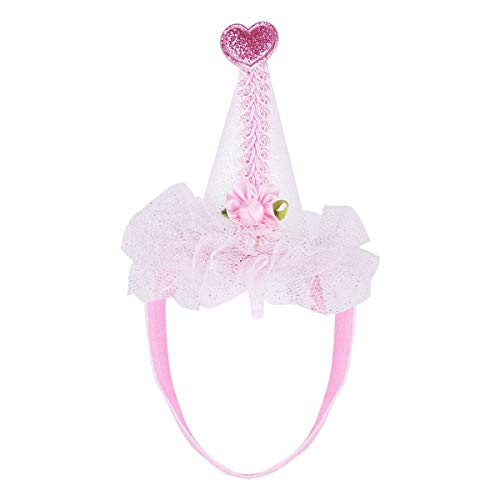 YiZYiF Baby Girls Glitter Adorable Birthday Cone Hats Pink Lace Princess Headband Crown Hat for Halloween Cosplay Party Supplies Photo Prop Hair Accessories ()
