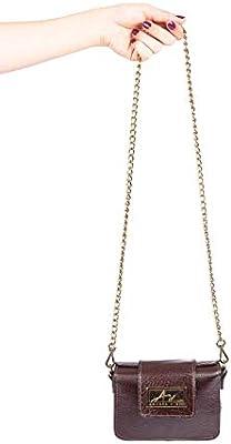 b378d3dc7 Mini bolsa de festa em couro legítimo café + alça de metal: Amazon ...