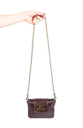 399e365b9 Mini bolsa de festa em couro legítimo café + alça de metal