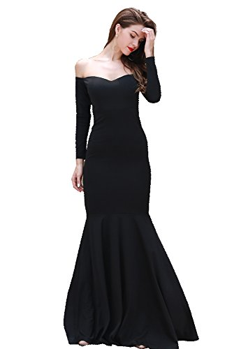 Miss ord Missord Women's Long Sleeve Word Shoulder Mermaid Floor Length Dress Party Gown