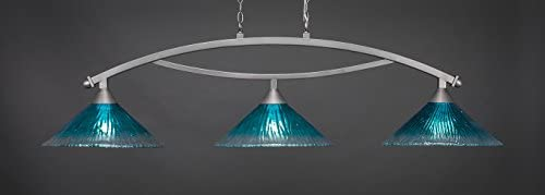 Toltec Lighting 873-BN-715 Bow - Three Light Billiard, Brushed Nickel Finish with Teal Crystal Glass