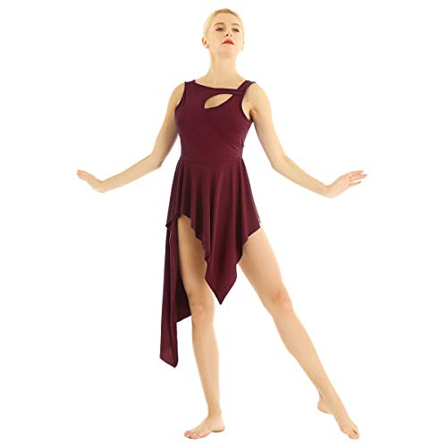 CHICTRY Women Crew Neck Lyrical Ballet High Low Dance Dress Leotard Costume Burgundy Small