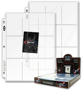 50 BCW 9 Pocket Page Protectors Fits 3-Ring Binder for Baseball and Other Sports Cards! - Trading Card Binder