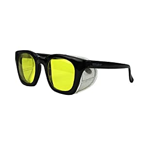 Titus G12 Retro Style Safety/Riding Glasses (Standard, Glossy Frame / Yellow Lenses)