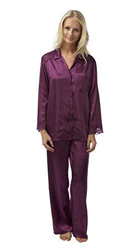 Mujeres damas ropa de dormir ropa de dormir Charmeuse raso manga larga pijama conjunto con encaje, varios colores y tamaños Ciruelo