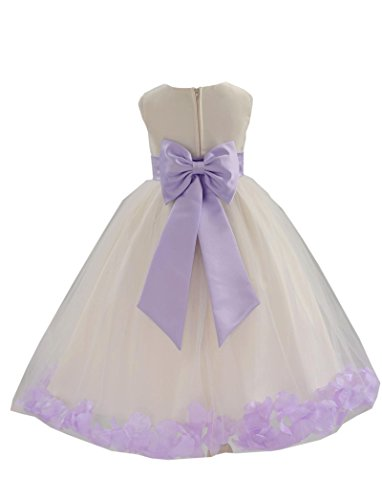 (Wedding Pageant Flower Petals Girl Ivory Dress with Bow Tie Sash 302a 14)