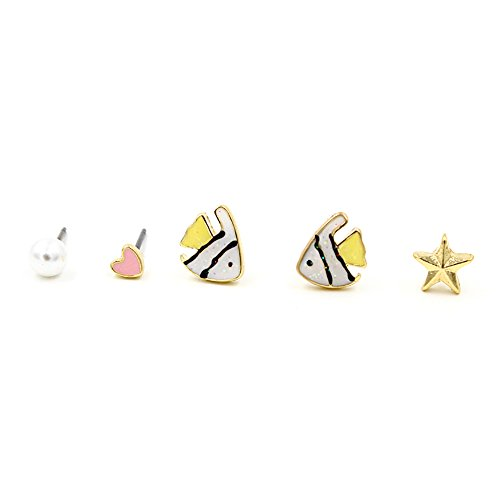 Halloween Costumes For Asian Girl And White Guy (GBJewelry Set of 5pcs Shine Blinking Fish Stud Earrings Set for Girl (yellow))