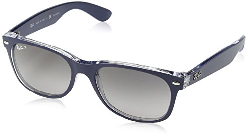 Ray-Ban RB2132 New Wayfarer Polarized Sunglasses, Blue On Transparent/Polarized Grey Gradient, 55 mm ()