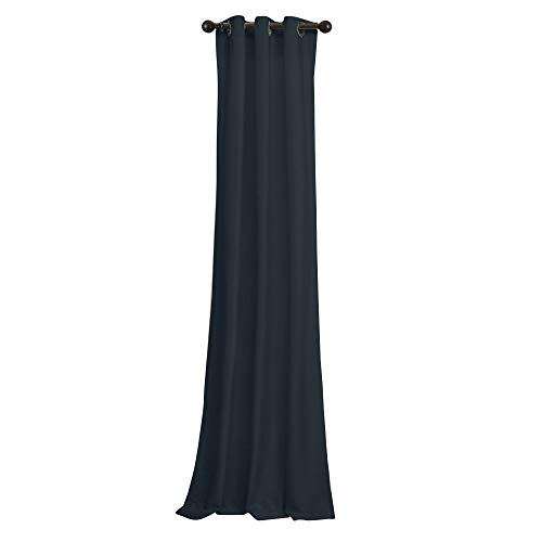 BRIGHTLINEN Vintage 100% Velvet 90 by 90 inches Thick Blackout Elegant Ring Top Eyelet Lined Velvet Curtains Navy Blue