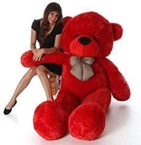 Click4deal Stuffed Soft Cotton Teddy (Red, 4 Feet)