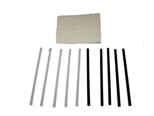 5 Black + 5 clear P-Tex PTex Rods p tex ski snowboard Base Repair with 1 buffing pad Non-abrasive (White) by WSD